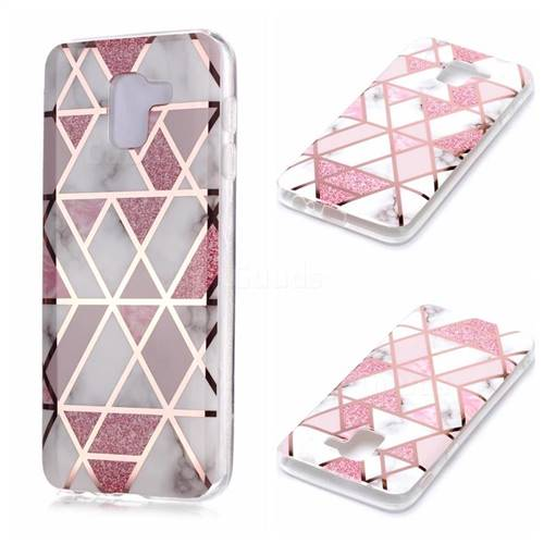 Pink Rhombus Galvanized Rose Gold Marble Phone Back Cover for Samsung Galaxy J6 (2018) SM-J600F