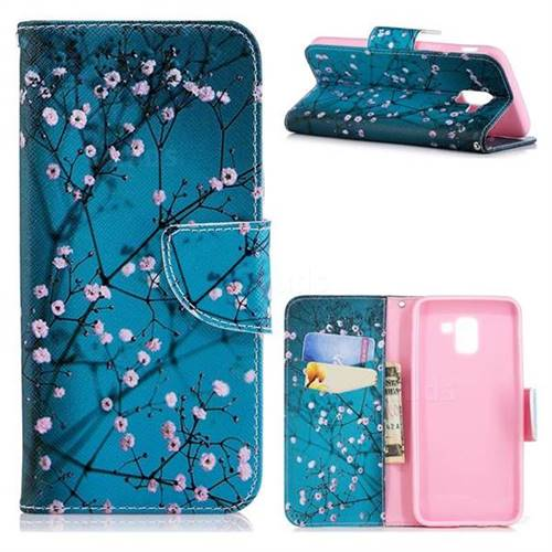 Blue Plum Leather Wallet Case for Samsung Galaxy J6 (2018) SM-J600F