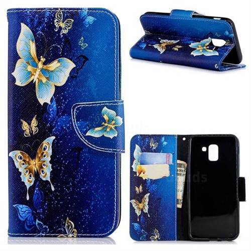 Golden Butterflies Leather Wallet Case for Samsung Galaxy J6 (2018) SM-J600F