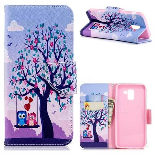 Tree and Owls Leather Wallet Case for Samsung Galaxy J6 (2018) SM-J600F