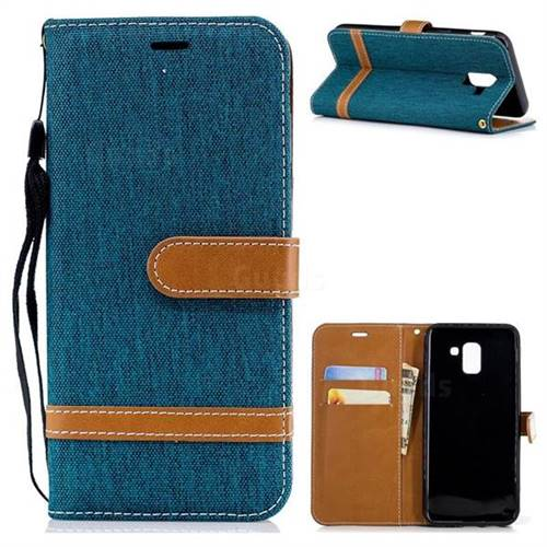 Jeans Cowboy Denim Leather Wallet Case for Samsung Galaxy J6 (2018) SM-J600F - Green