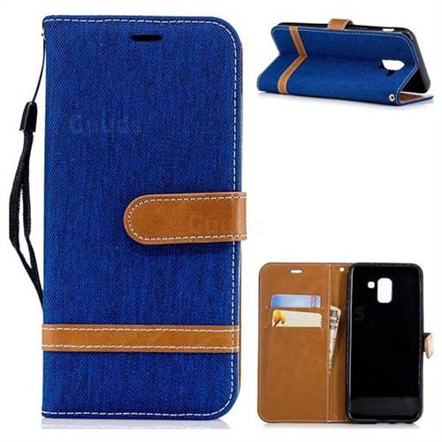 Jeans Cowboy Denim Leather Wallet Case for Samsung Galaxy J6 (2018) SM-J600F - Sapphire