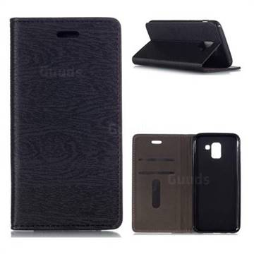 Tree Bark Pattern Automatic suction Leather Wallet Case for Samsung Galaxy J6 (2018) SM-J600F - Black