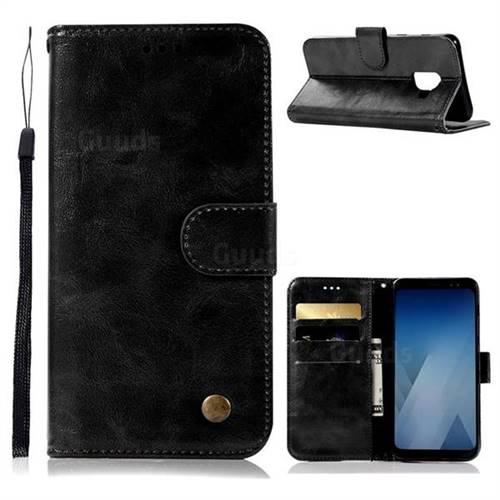 Luxury Retro Leather Wallet Case for Samsung Galaxy J6 (2018) SM-J600F - Black