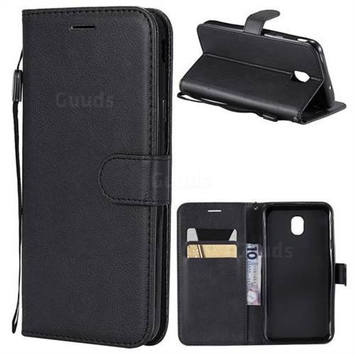 Retro Greek Classic Smooth PU Leather Wallet Phone Case for Samsung Galaxy J6 (2018) SM-J600F - Black