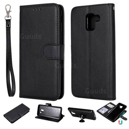Retro Greek Detachable Magnetic PU Leather Wallet Phone Case for Samsung Galaxy J6 (2018) SM-J600F - Black