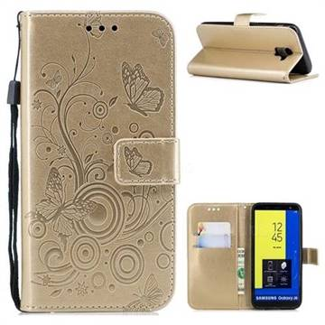 Intricate Embossing Butterfly Circle Leather Wallet Case for Samsung Galaxy J6 (2018) SM-J600F - Champagne