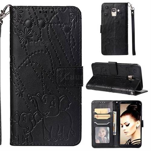 Embossing Fireworks Elephant Leather Wallet Case for Samsung Galaxy J6 (2018) SM-J600F - Black