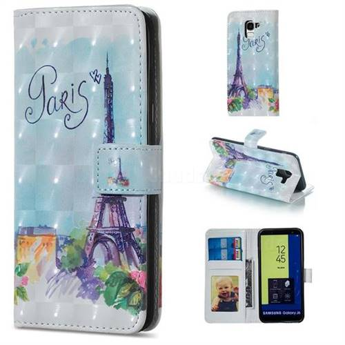 Paris Tower 3D Painted Leather Phone Wallet Case for Samsung Galaxy J6 (2018) SM-J600F