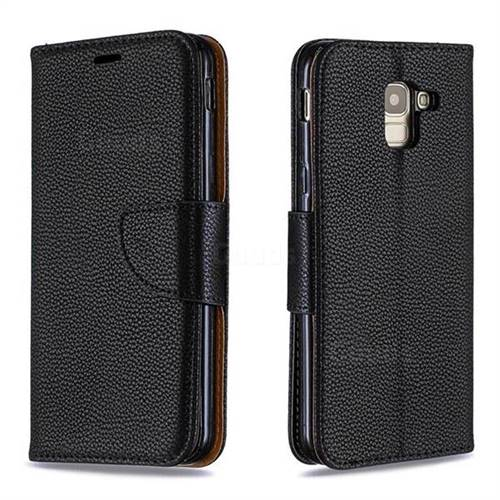 Classic Luxury Litchi Leather Phone Wallet Case for Samsung Galaxy J6 (2018) SM-J600F - Black