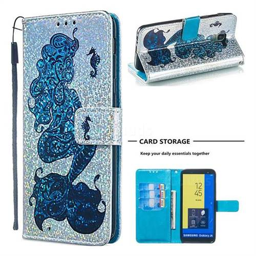 Mermaid Seahorse Sequins Painted Leather Wallet Case for Samsung Galaxy J6 (2018) SM-J600F