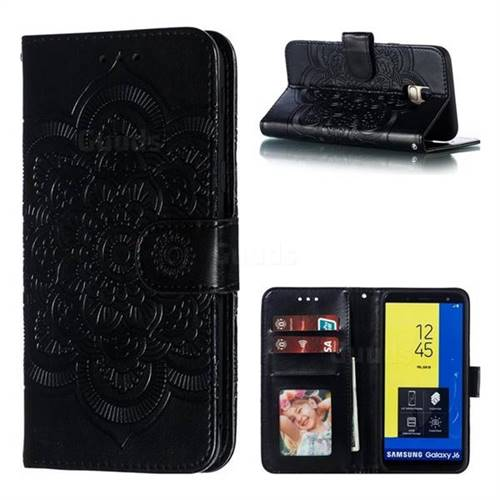 Intricate Embossing Datura Solar Leather Wallet Case for Samsung Galaxy J6 (2018) SM-J600F - Black