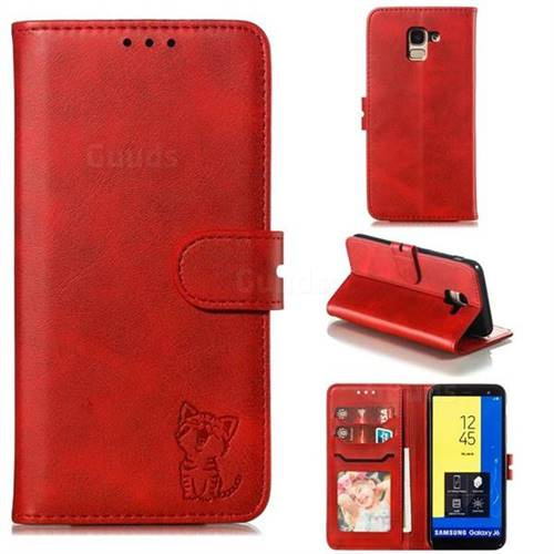 Embossing Happy Cat Leather Wallet Case for Samsung Galaxy J6 (2018) SM-J600F - Red