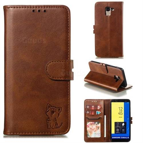 Embossing Happy Cat Leather Wallet Case for Samsung Galaxy J6 (2018) SM-J600F - Brown