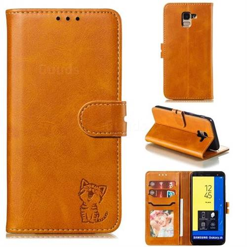 Embossing Happy Cat Leather Wallet Case for Samsung Galaxy J6 (2018) SM-J600F - Yellow