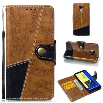 Retro Magnetic Stitching Wallet Flip Cover for Samsung Galaxy J6 (2018) SM-J600F - Brown