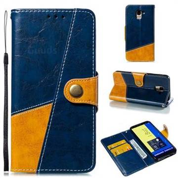 Retro Magnetic Stitching Wallet Flip Cover for Samsung Galaxy J6 (2018) SM-J600F - Blue