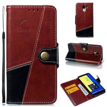 Retro Magnetic Stitching Wallet Flip Cover for Samsung Galaxy J6 (2018) SM-J600F - Dark Red