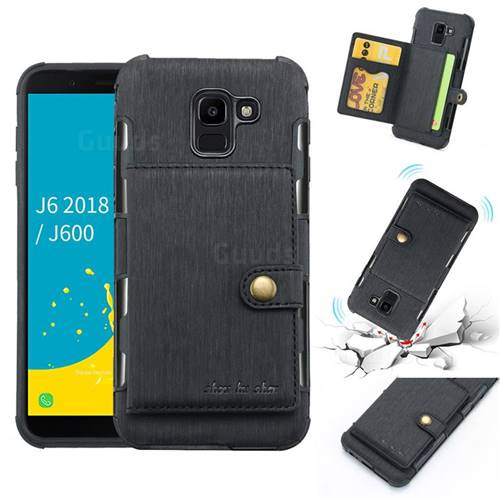 Brush Multi-function Leather Phone Case for Samsung Galaxy J6 (2018) SM-J600F - Black