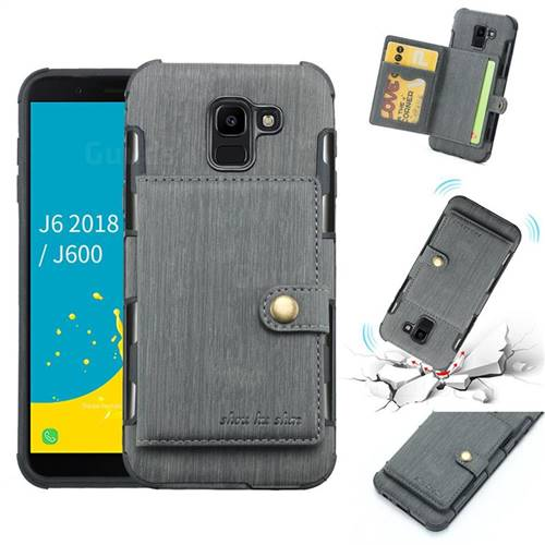 Brush Multi-function Leather Phone Case for Samsung Galaxy J6 (2018) SM-J600F - Gray