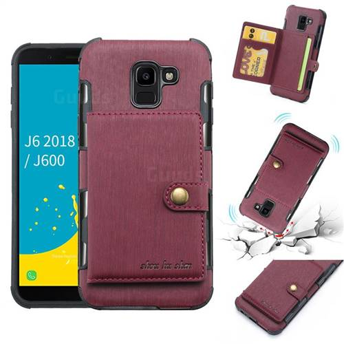 Brush Multi-function Leather Phone Case for Samsung Galaxy J6 (2018) SM-J600F - Wine Red