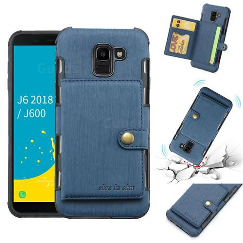Brush Multi-function Leather Phone Case for Samsung Galaxy J6 (2018) SM-J600F - Blue