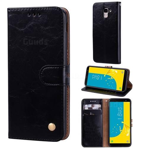 Luxury Retro Oil Wax PU Leather Wallet Phone Case for Samsung Galaxy J6 (2018) SM-J600F - Deep Black