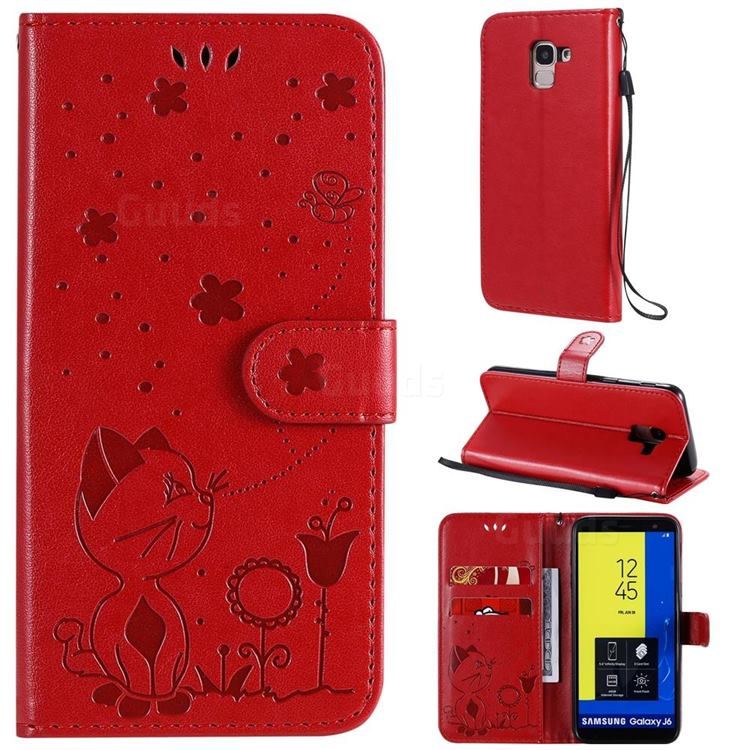 Embossing Bee and Cat Leather Wallet Case for Samsung Galaxy J6 (2018) SM-J600F - Red