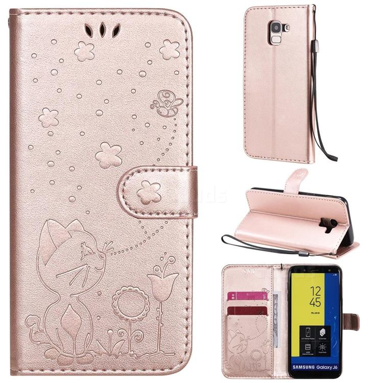 Embossing Bee and Cat Leather Wallet Case for Samsung Galaxy J6 (2018) SM-J600F - Rose Gold