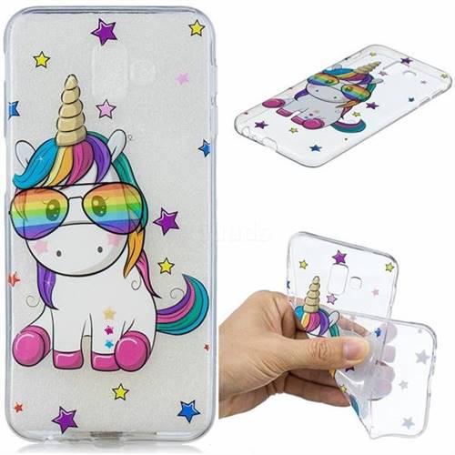 Glasses Unicorn Clear Varnish Soft Phone Back Cover for Samsung Galaxy J6 Plus / J6 Prime