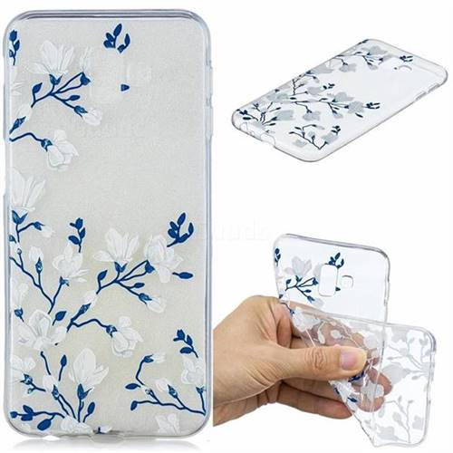Magnolia Flower Clear Varnish Soft Phone Back Cover for Samsung Galaxy J6 Plus / J6 Prime