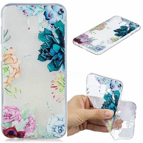 Gem Flower Clear Varnish Soft Phone Back Cover for Samsung Galaxy J6 Plus / J6 Prime