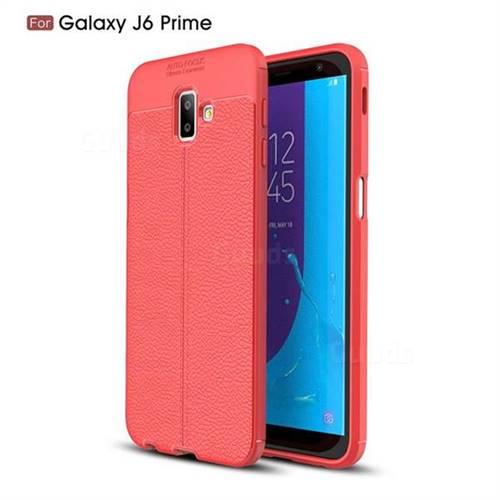 buy popular a32da e8dc0 Luxury Auto Focus Litchi Texture Silicone TPU Back Cover for Samsung Galaxy  J6 Plus / J6 Prime - Red