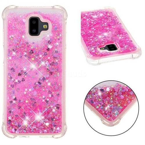 Dynamic Liquid Glitter Sand Quicksand TPU Case for Samsung Galaxy J6 Plus / J6 Prime - Pink Love Heart