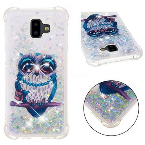 Sweet Gray Owl Dynamic Liquid Glitter Sand Quicksand Star TPU Case for Samsung Galaxy J6 Plus / J6 Prime