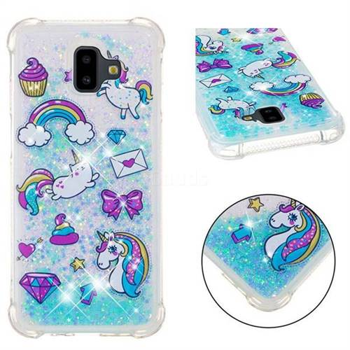 Fashion Unicorn Dynamic Liquid Glitter Sand Quicksand Star TPU Case for Samsung Galaxy J6 Plus / J6 Prime
