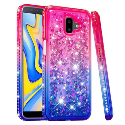 save off cd613 95716 Diamond Frame Liquid Glitter Quicksand Sequins Phone Case for Samsung  Galaxy J6 Plus / J6 Prime - Pink Blue