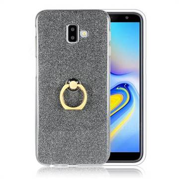 Luxury Soft TPU Glitter Back Ring Cover with 360 Rotate Finger Holder Buckle for Samsung Galaxy J6 Plus / J6 Prime - Black
