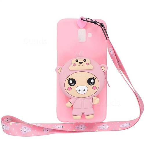 Pink Pig Neck Lanyard Zipper Wallet Silicone Case for Samsung Galaxy J6 Plus / J6 Prime