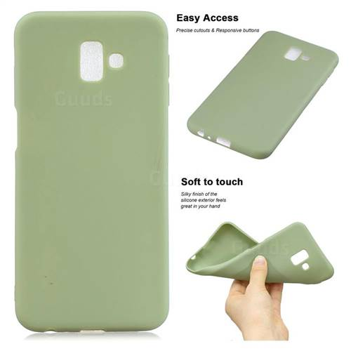 Soft Matte Silicone Phone Cover for Samsung Galaxy J6 Plus / J6 Prime - Bean Green