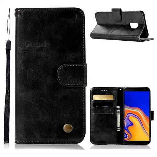 Luxury Retro Leather Wallet Case for Samsung Galaxy J6 Plus / J6 Prime - Black