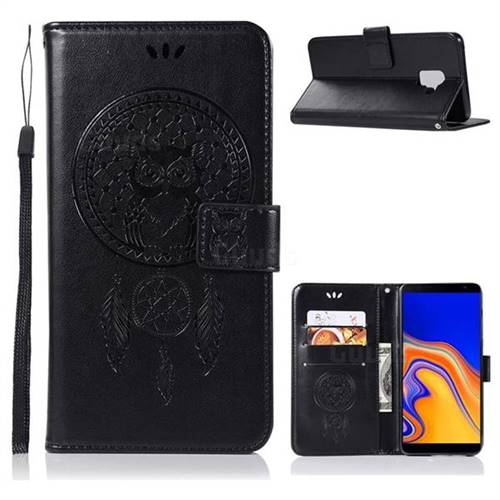 Intricate Embossing Owl Campanula Leather Wallet Case for Samsung Galaxy J6 Plus / J6 Prime - Black