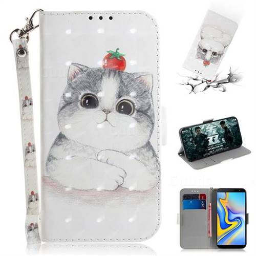 Cute Tomato Cat 3D Painted Leather Wallet Phone Case for Samsung Galaxy J6 Plus / J6 Prime