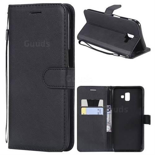 Retro Greek Classic Smooth PU Leather Wallet Phone Case for Samsung Galaxy J6 Plus / J6 Prime - Black
