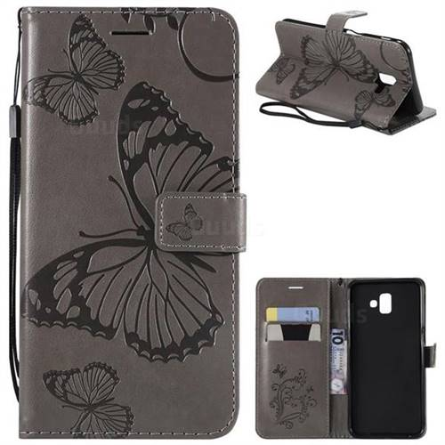 Embossing 3D Butterfly Leather Wallet Case for Samsung Galaxy J6 Plus / J6 Prime - Gray
