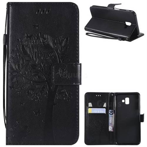 Embossing Butterfly Tree Leather Wallet Case for Samsung Galaxy J6 Plus / J6 Prime - Black