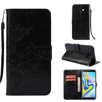Embossing Butterfly Flower Leather Wallet Case for Samsung Galaxy J6 Plus / J6 Prime - Black