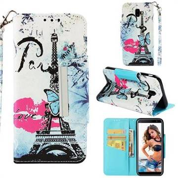 Lip Tower Big Metal Buckle PU Leather Wallet Phone Case for Samsung Galaxy J6 Plus / J6 Prime