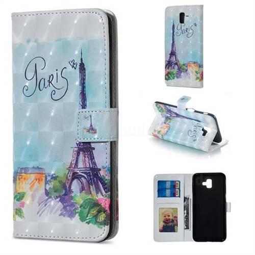 Paris Tower 3D Painted Leather Phone Wallet Case for Samsung Galaxy J6 Plus / J6 Prime