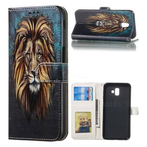Ice Lion 3D Relief Oil PU Leather Wallet Case for Samsung Galaxy J6 Plus / J6 Prime